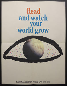 1962 Read And Watch Your World Grow National Library Week Books - Golden Age Posters