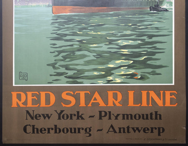 c.1929 SS Bergenland Red Star Line New York Southampton Harve Antwerp ALO Charles Hallo
