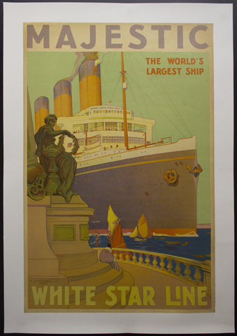 c.1930 RMS Majestic The World's Largest Ship by William James Aylward White Star Line