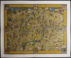 c.1928 Wondeground Map of London by Leslie MacDonald Gill Pictorial Cartoon Map