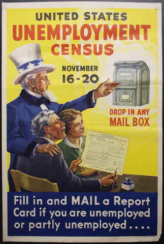 1937 United States Unemployment Census Uncle Sam New Deal Depression Era - Golden Age Posters