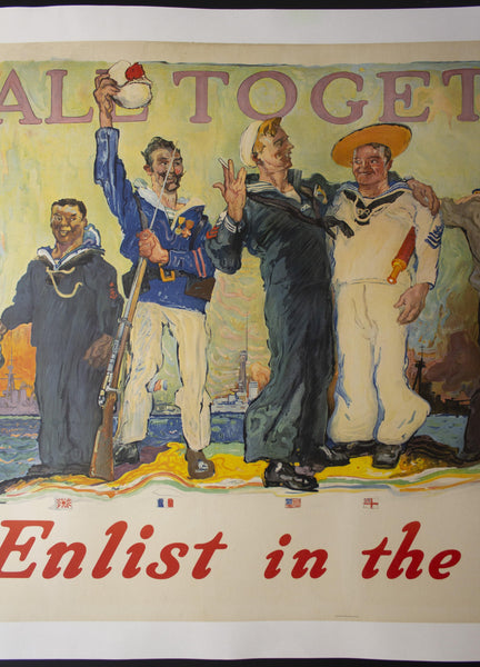 1917 All Together Enlist In The Navy by Henry Reuterdahl Recruiting