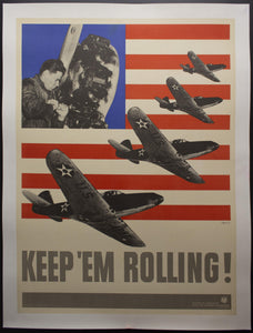 1941 Keep 'Em Rolling! by Leo Lionni Modernist WWII - Golden Age Posters