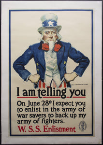 1918 I Am Telling You James Montgomery Flagg Uncle Sam WWI War Savings Stamps