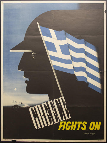 1942 Greece Fights On by Edward McKnight Kauffer WWII Modernist