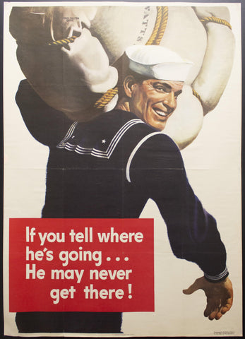 c.1943 If You Tell Where He's Going He May Never Get There John Falter US Navy WWII - Golden Age Posters