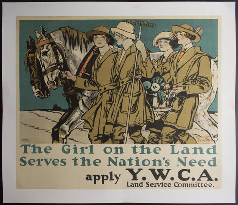1917 The Girl On The Land Serves The Nation's Needs by Edward Penfield WWI