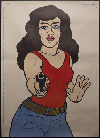 1974 ATS Quik Slip Human Figure Police Target Poster Bad Lady with Gun - Golden Age Posters