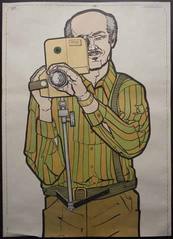 1974 ATS Quik Slip Human Figure Police Target Poster Home Movie Camera Grandpa - Golden Age Posters