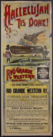 c.1889 Rio Grande Western Railway Colorado Broadside in Color