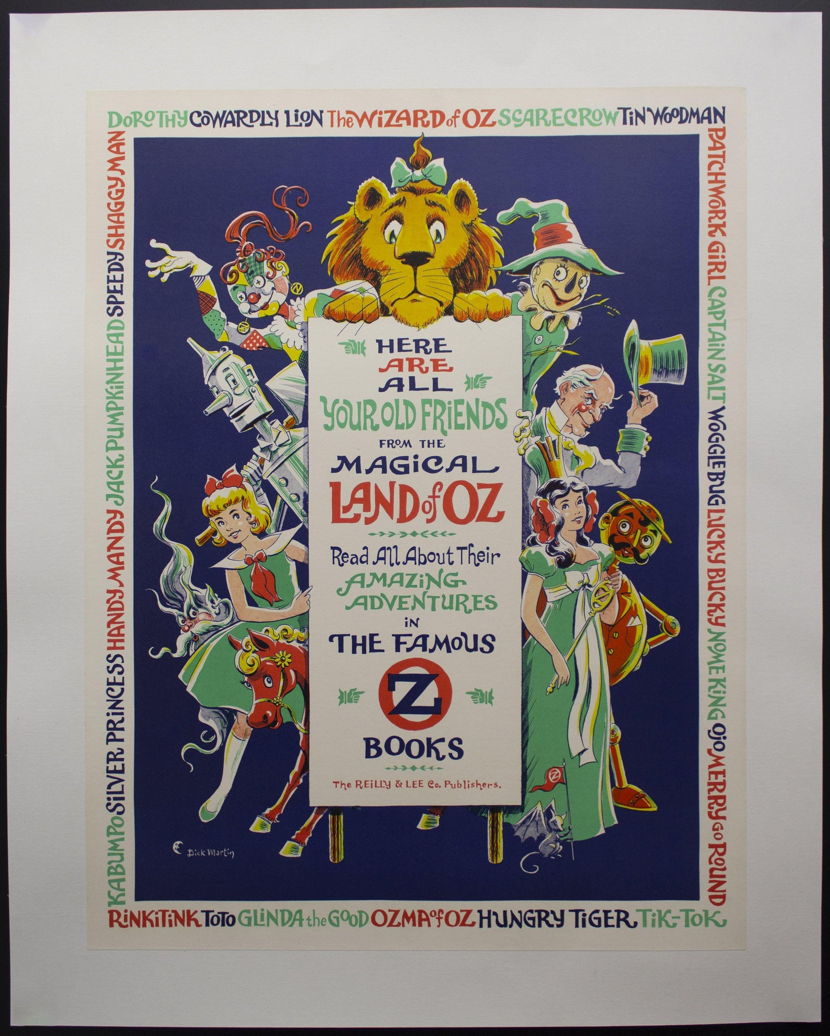 c.1960s Dick Martin Wizard of Oz Books Bookstore Advertising Reilly & Lee Co