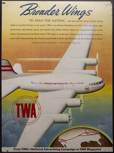 1940 Boeing 307 Stratoliner TWA Airline Sign Broader Wings Span Nation