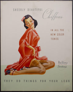 c.1940s Rollins Runstop Stockings Sign They Do Things For Your Legs GGA Pinup Girl
