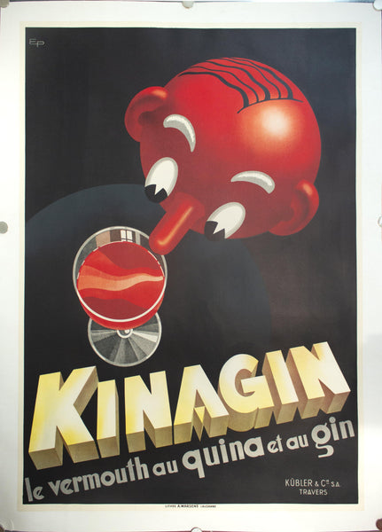 c. 1941 Kinagin Le Vermouth Au Quina Et Au Gin by Eugene Patkevitch - Golden Age Posters