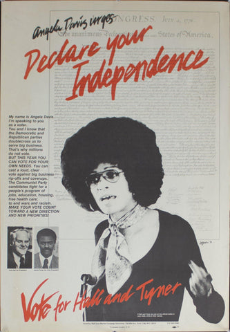 1976 Angela Davis Urges Declare Your Independence | Vote for Hall and Tyner