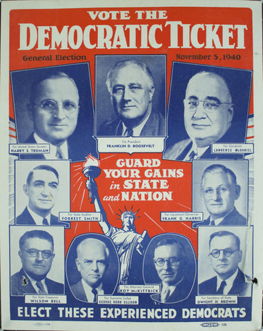 1940 Vote Democratic Ticket | General Election November 5, 1940 | Guard Your Gains in State
