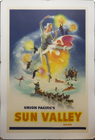 c.1950 Union Pacific's Sun Valley Idaho by Cornelius Peet Ski Skiing Winter Sports - Golden Age Posters