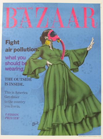 1975 Fight Air Pollution Bazaar Magazine Parody Environmental Poster George Stowe