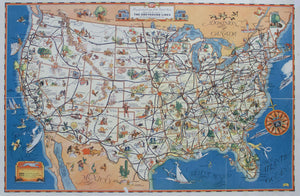 1934 Figural Map of The Greyhound Lines  - A Good Natured Map of the United States