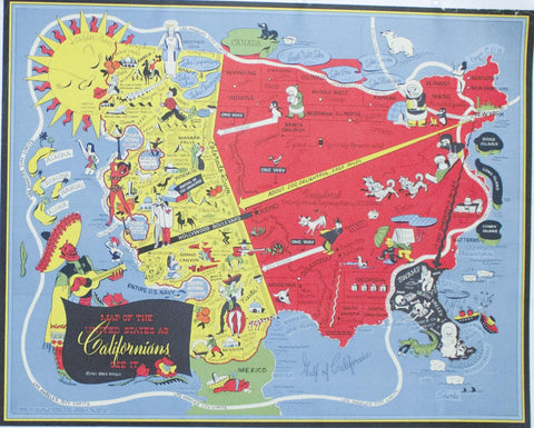 1947 Map of United States as Californians See It