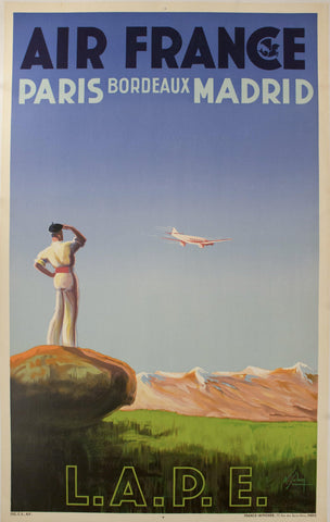 1936 Air France - Paris Bordeaux Madrid by Albert Solon