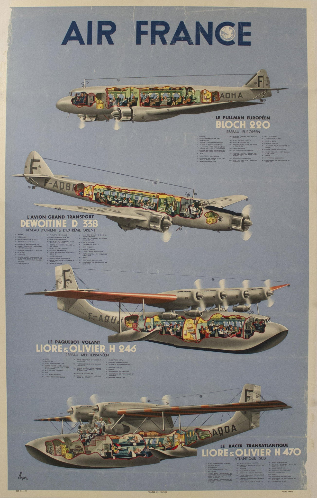 1938 Air France Airplane Diagram by Gerale