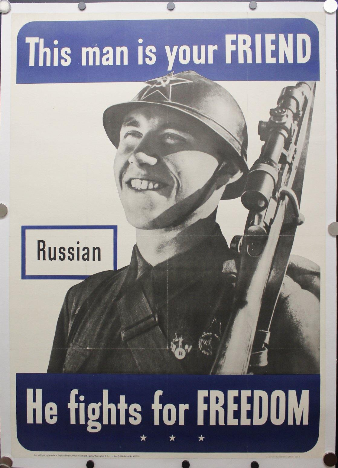 1942 This Man Is Your Friend He Fights For Your Freedom - Russian