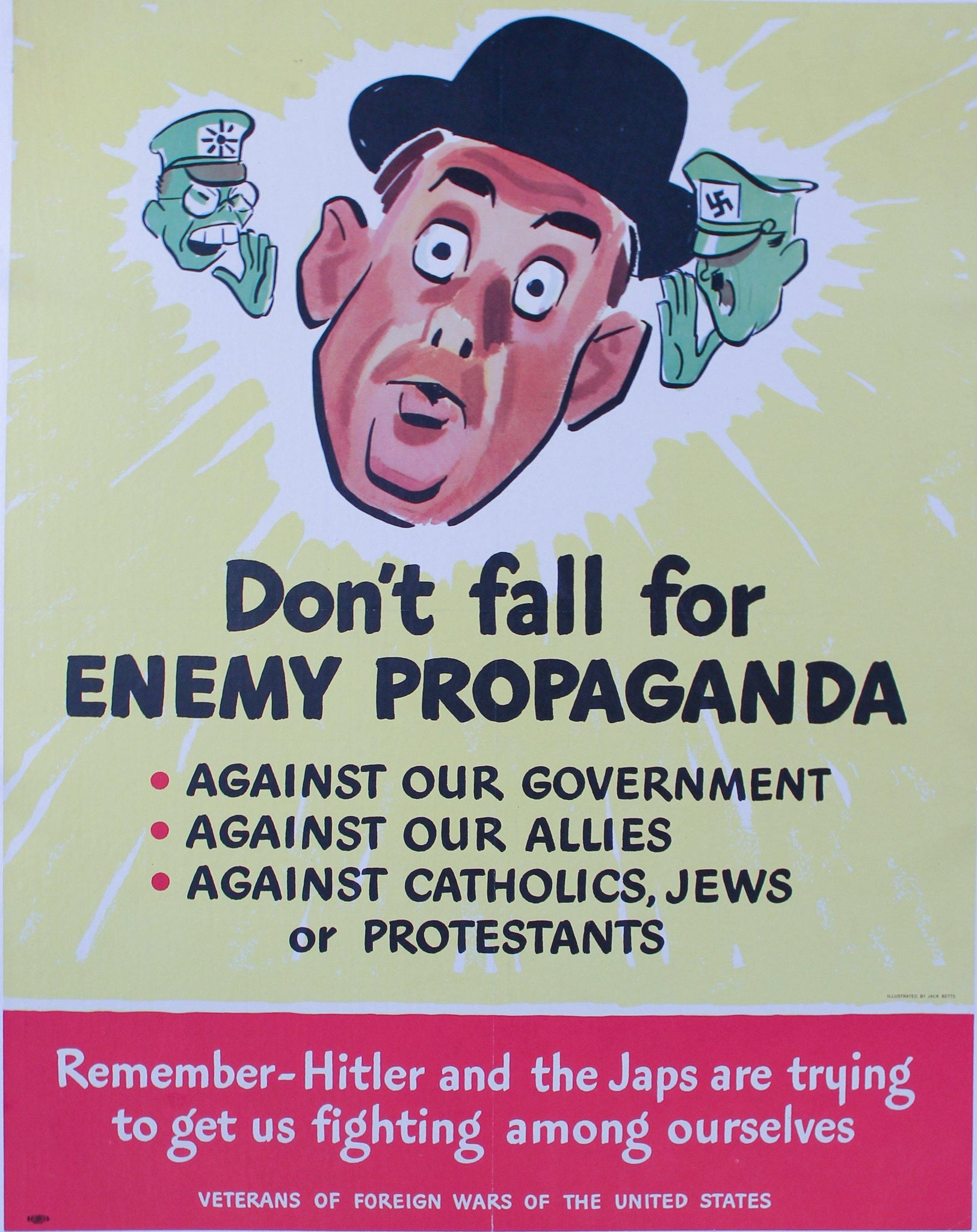 1943 Don't Fall For Enemy Propaganda Against Government, Our Allies, Catholics, Jews or Protestants