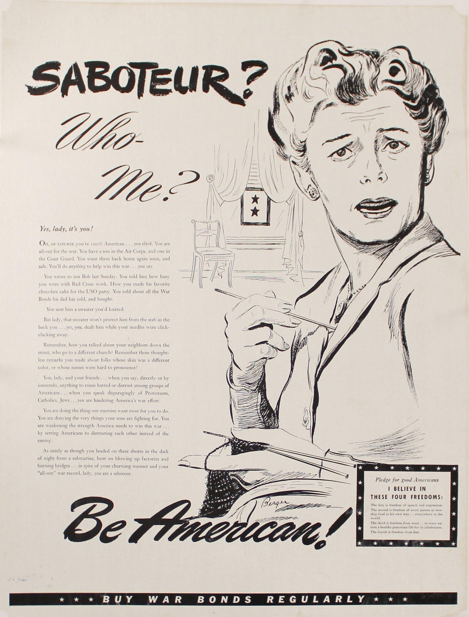 c. 1942 Saboteur? Who- Me? Be American! Buy War Bonds Regularly