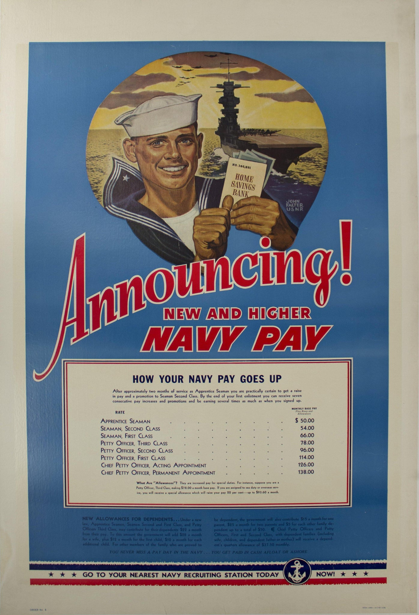 1942 Announcing New and Higher Navy Pay by John Falter