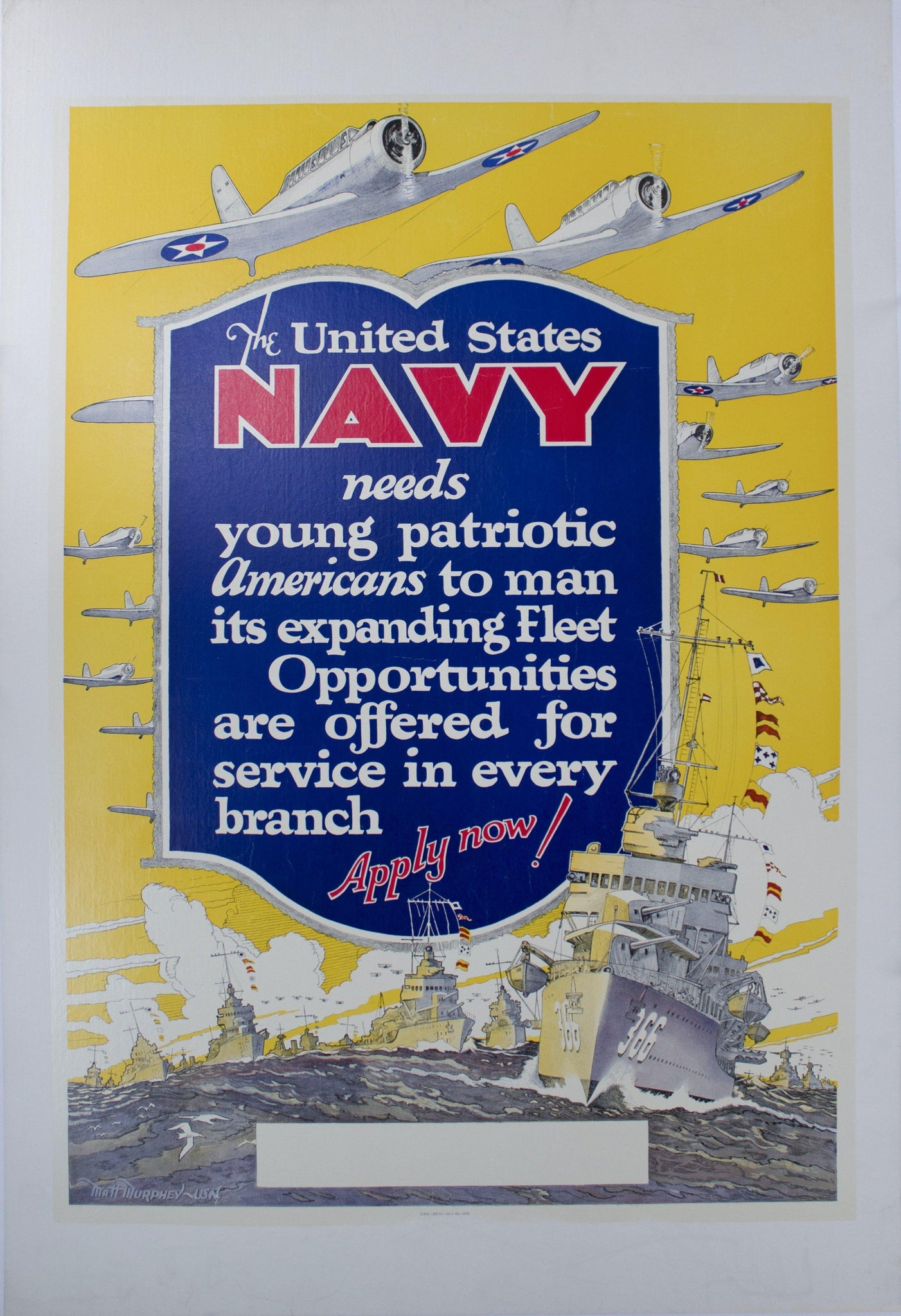 1940 United States Navy Needs Young Patriotic Americans - Golden Age Posters