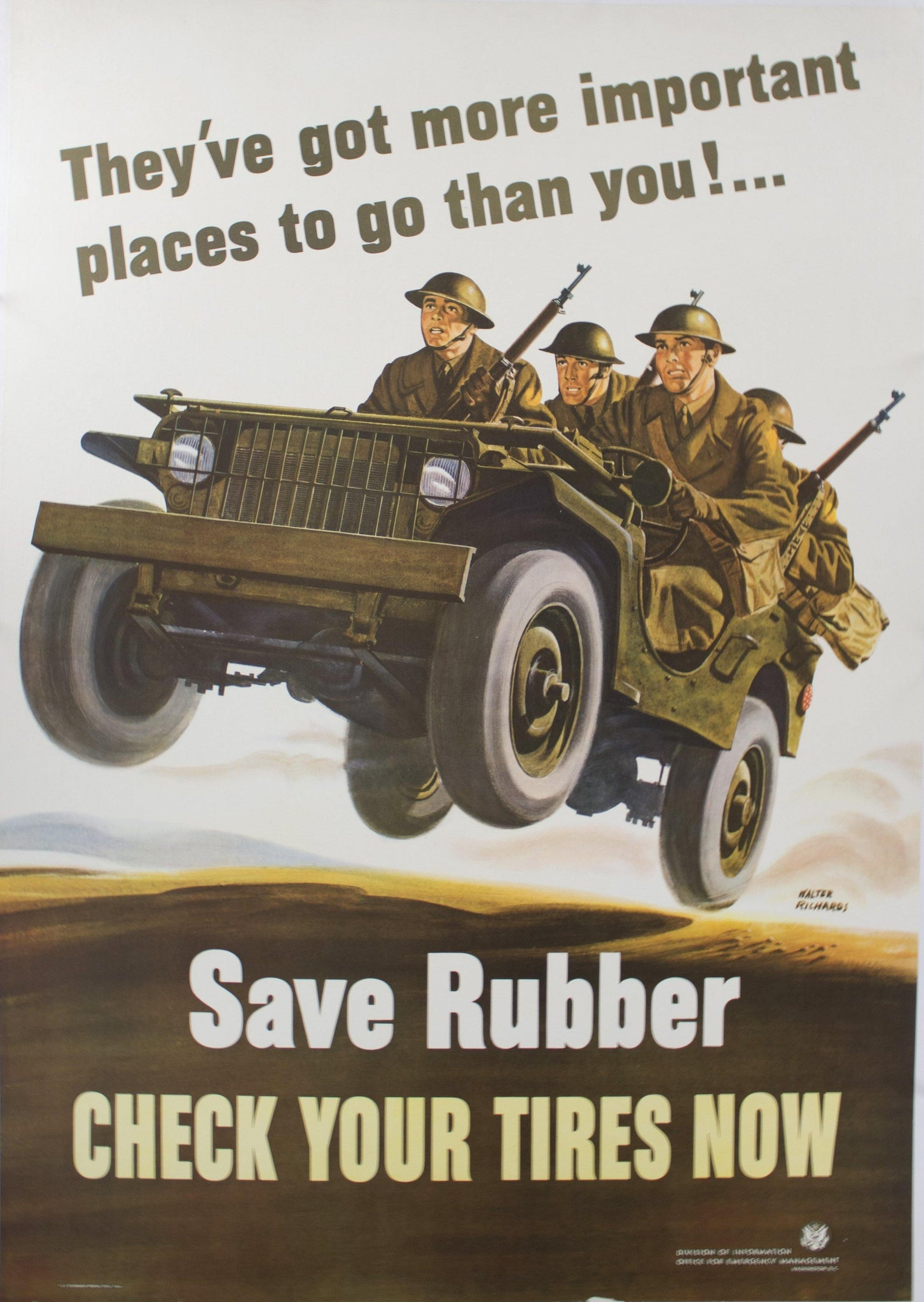 1942 They've Got More Important Places to Go Than You! Save Rubber Check Your Tires Now