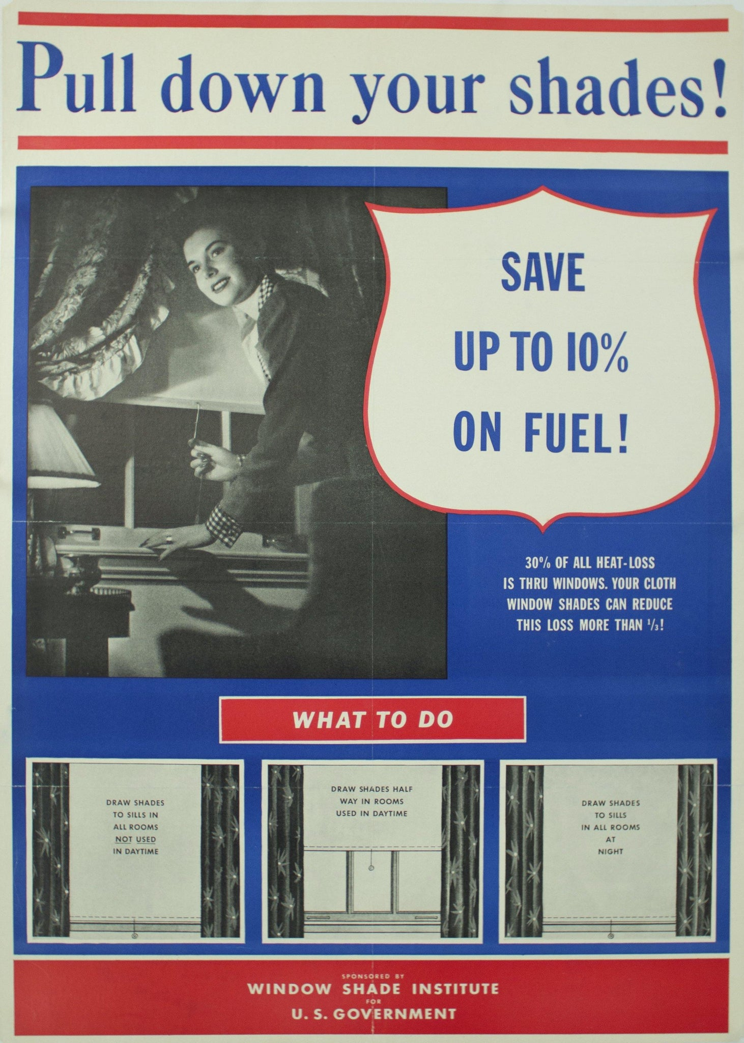 c. 1942 Pull Down Your Shades, Save up to 10% on Fuel
