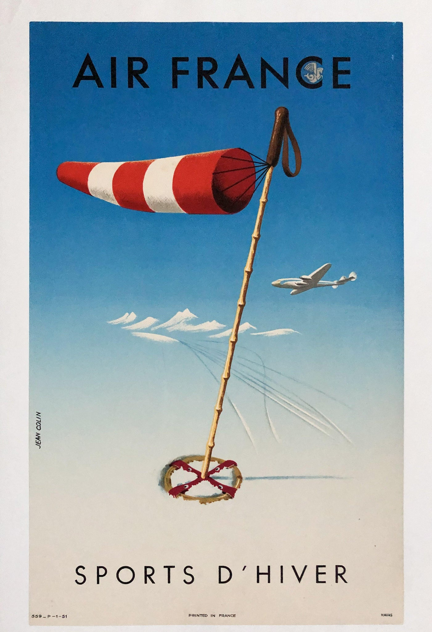 1951 Air France Winter Sports D'Hiver by Jean Colin