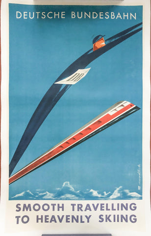 1958 Deutsche Bundesbahn Railway - Smooth Travelling to Heavenly Skiing - Golden Age Posters