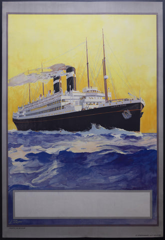 c.1920s SS Lapland Red Star Line by Louis Royon Stock Poster