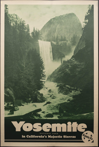 c.1930s Santa Fe Railway Yosemite National Park in California's Majestic Sierras