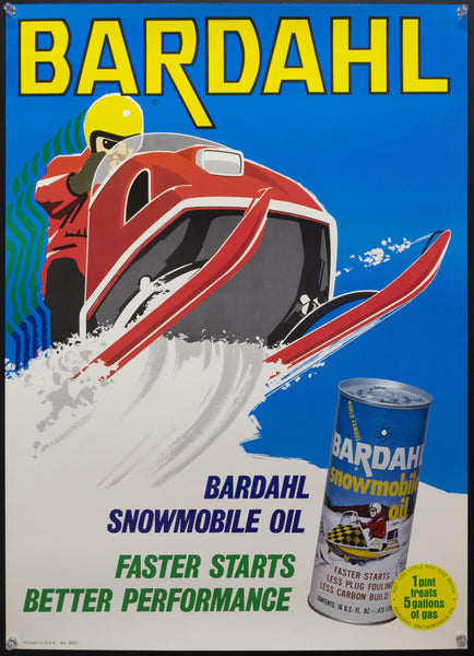 c.1960s Bardahl VBA Snowmobile Oil Advertising Mid-Century