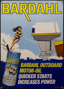 c.1960s Bardahl Outboard Motor Oil Advertising Water Skiing