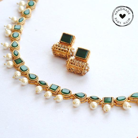 Kundan Choker with Drum Earrings