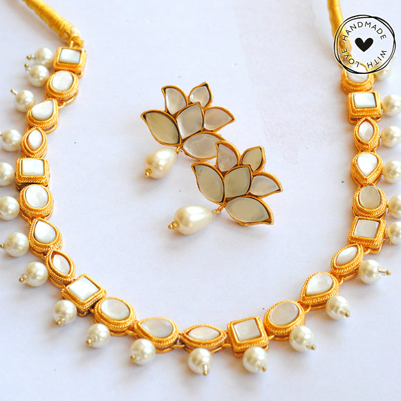 Kundan Choker with Lotus Earrings