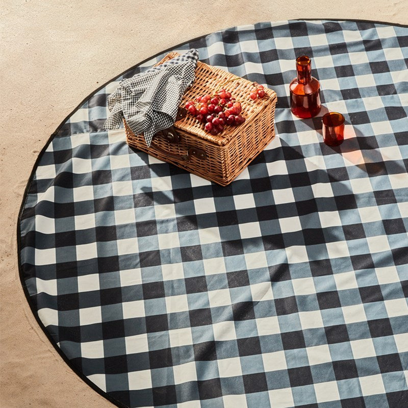 Basil Bangs \\ Black Gingham Love Rug (Picnic Mat)