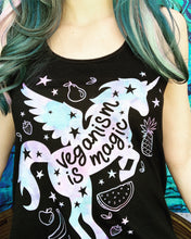 Load image into Gallery viewer, Veganism is Magic- Unicorn Black Flowy Racerback Tank