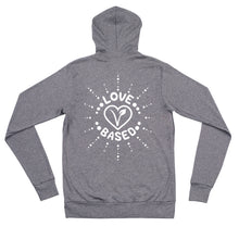 Load image into Gallery viewer, Love Based Unisex Zip-up Lightweight Hoodie Grey