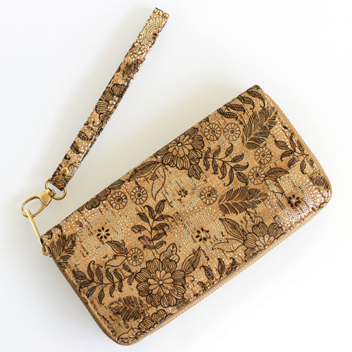 Floral Print Cork Wallet / Clutch