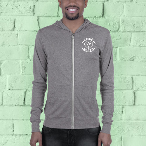 Love Based Unisex Zip-up Lightweight Hoodie Grey