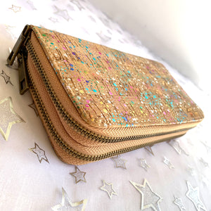 Rainbow Foil Dot Cork Wallet / Clutch