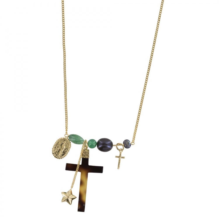 BETTY BOGAERS STATEMENT CROSS NECKLACE GOLD