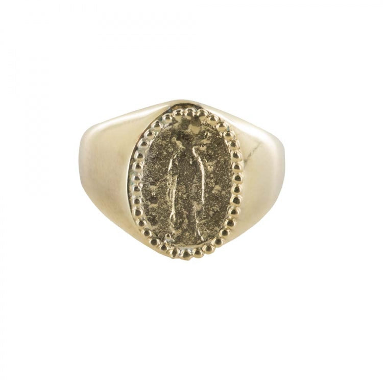 BETTY BOGAERS OVAL MARIA COIN SIGNET RING