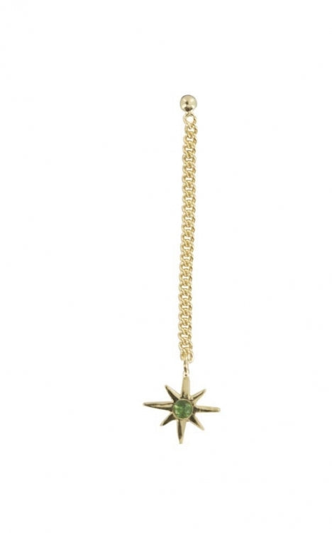 GREEN STAR CHAIN EARRING